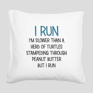 I RUN Square Canvas Pillow