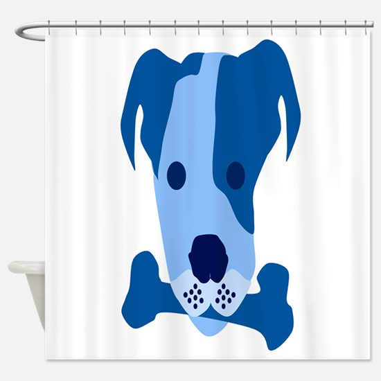 Bow Wow Blue Shower Curtain