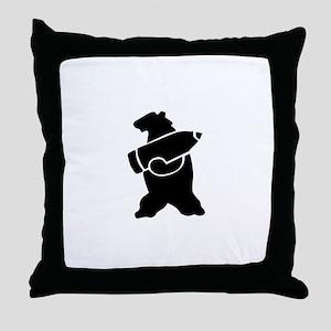 Retro Wojtek The Soldier Bear! Throw Pillow