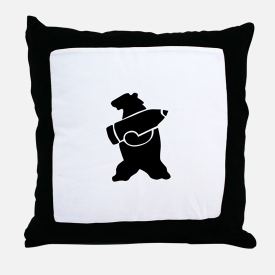Retro Wojtek The Soldier Bear! Throw Pillow