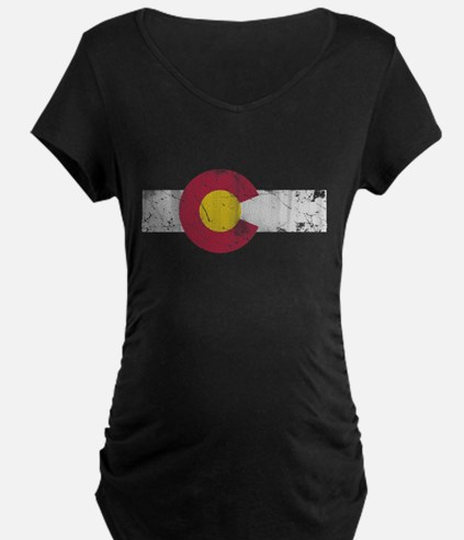 Vintage Colorado State Flag Fade Maternity T-Shirt