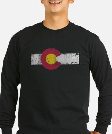 Vintage Colorado State Flag Fade Long Sleeve T-Shi
