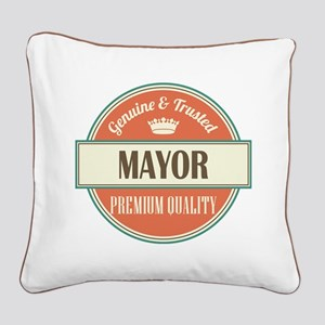 mayor vintage logo Square Canvas Pillow