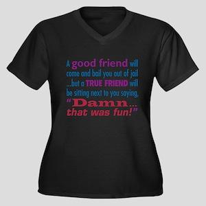 True Friend Women's Plus Size V-Neck Dark T-Shirt
