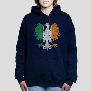 Irish Flag Polish Eagle Women's Hooded Sweatshirt