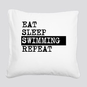 Eat Sleep Swimming Repeat Square Canvas Pillow