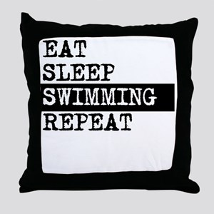 Eat Sleep Swimming Repeat Throw Pillow