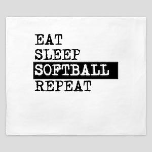 Eat Sleep Softball Repeat King Duvet