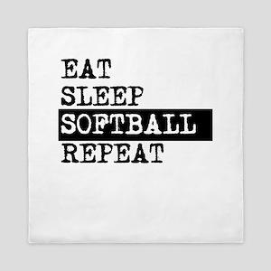 Eat Sleep Softball Repeat Queen Duvet
