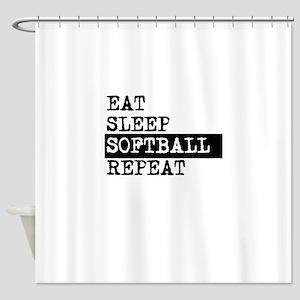 Eat Sleep Softball Repeat Shower Curtain
