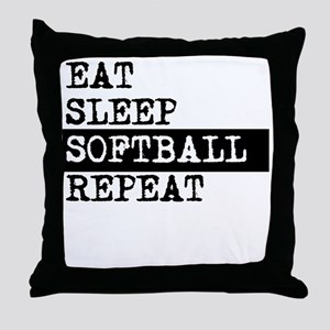 Eat Sleep Softball Repeat Throw Pillow