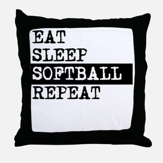 Eat Sleep Softball Repeat Throw Pillow