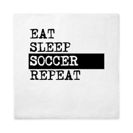 Eat Sleep Soccer Repeat Queen Duvet By Sportsandactivities