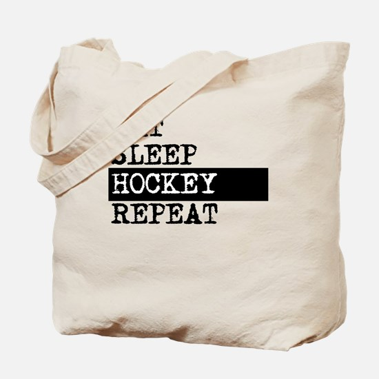 Eat Sleep Hockey Repeat Tote Bag