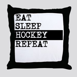 Eat Sleep Hockey Repeat Throw Pillow