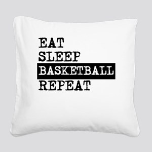Eat Sleep Basketball Repeat Square Canvas Pillow