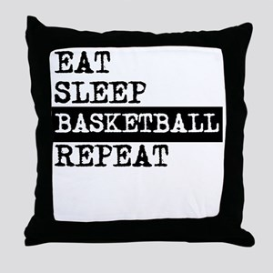 Eat Sleep Basketball Repeat Throw Pillow