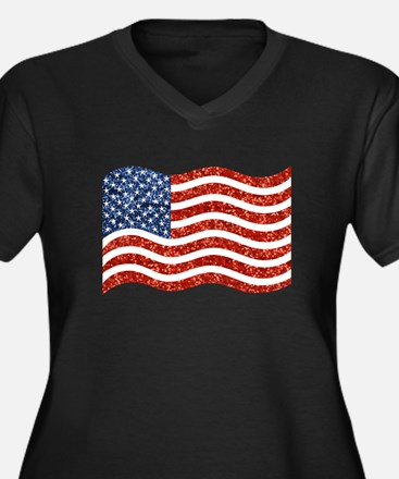 sequin american flag Plus Size T-Shirt