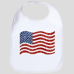 sequin american flag Bib
