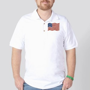 sequin american flag Golf Shirt