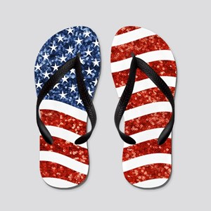sequin american flag Flip Flops
