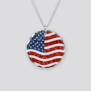 sequin american flag Necklace Circle Charm