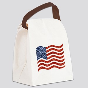 sequin american flag Canvas Lunch Bag