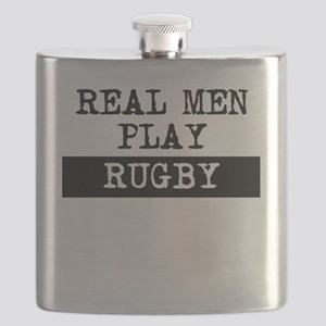 Real Men Play Rugby Flask