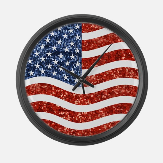 sequin american flag Large Wall Clock