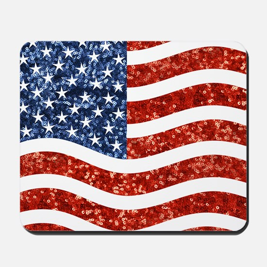 sequin american flag Mousepad