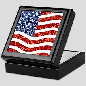 sequin american flag Keepsake Box