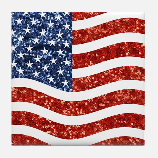 sequin american flag Tile Coaster