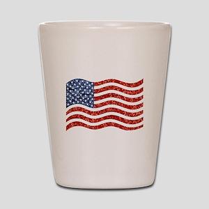 sequin american flag Shot Glass