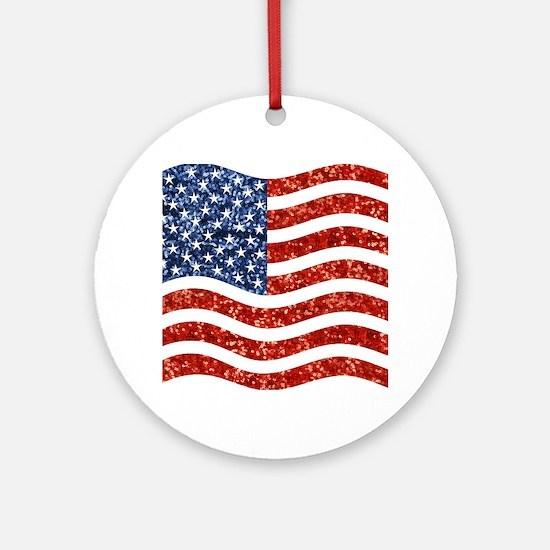 sequin american flag Round Ornament