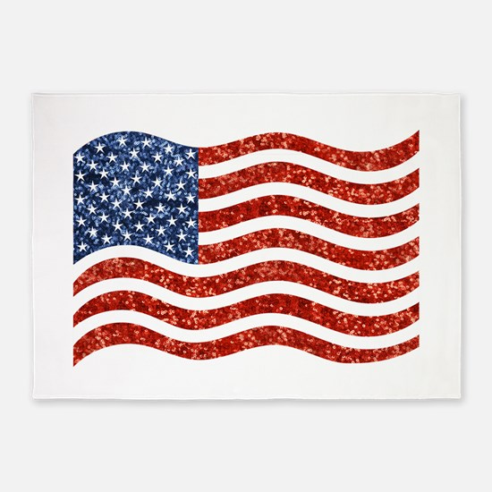 sequin american flag 5'x7'Area Rug