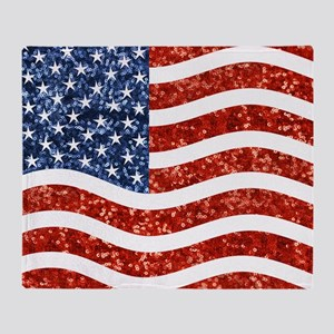 sequin american flag Throw Blanket