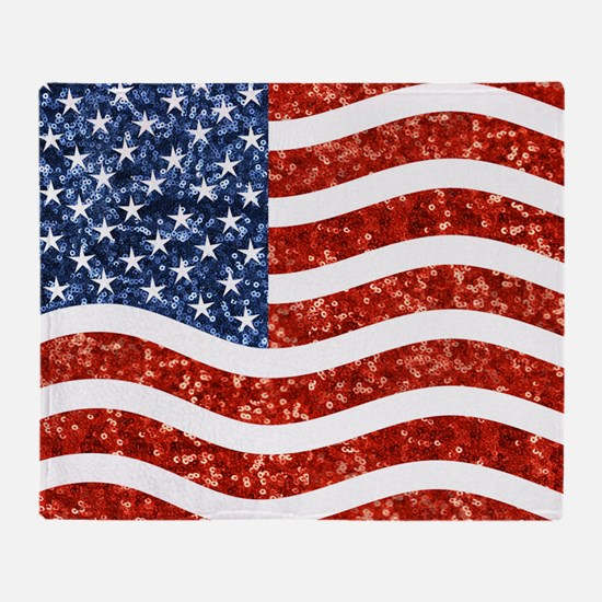 sequin american flag Throw Blanket