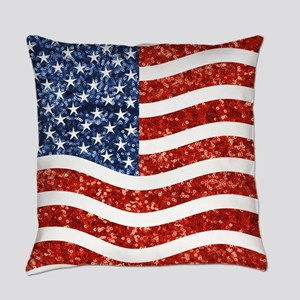 sequin american flag Everyday Pillow