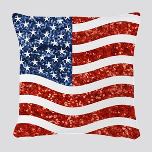 sequin american flag Woven Throw Pillow