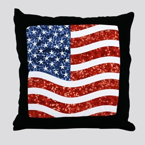 sequin american flag Throw Pillow