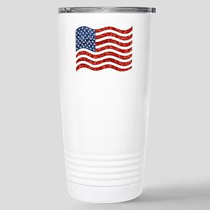 sequin american flag Stainless Steel Travel Mug