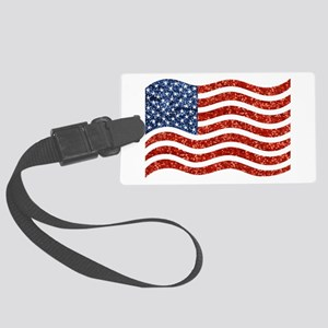 sequin american flag Large Luggage Tag