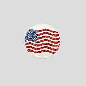 sequin american flag Mini Button