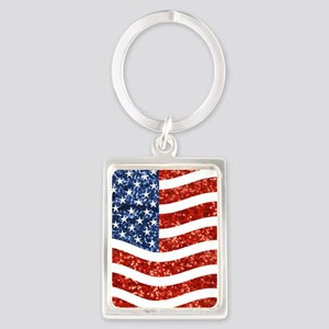 sequin american flag Keychains