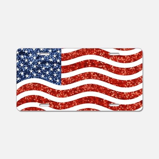 sequin american flag Aluminum License Plate