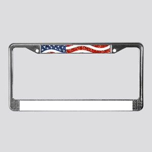 sequin american flag License Plate Frame
