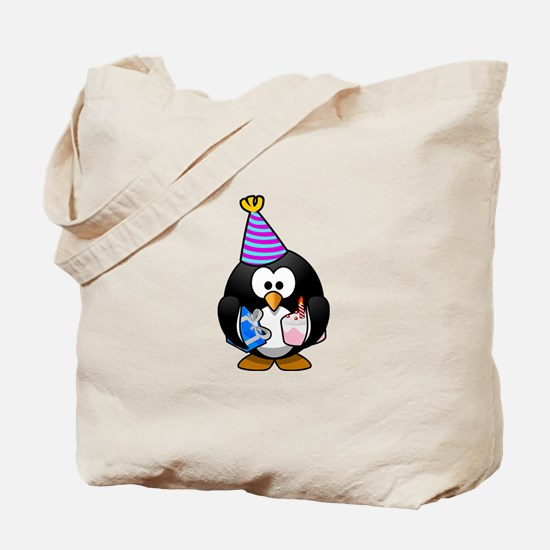 Happy Birthday Penguin Tote Bag