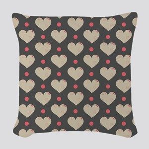 Hearts Pattern Woven Throw Pillow