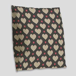Hearts Pattern Burlap Throw Pillow