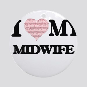 I love my Midwife (Heart Made from Round Ornament